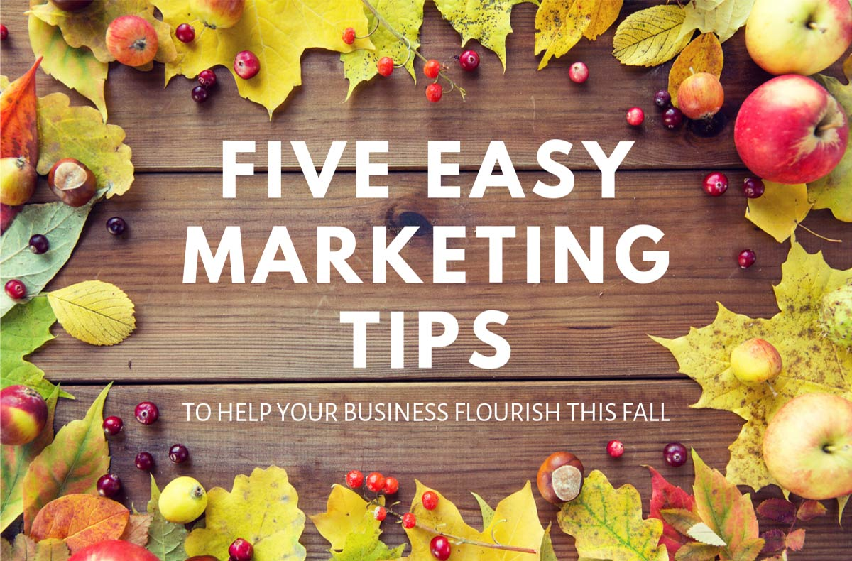wood background surrounded by fall leaves with text that says five easy marketing tips