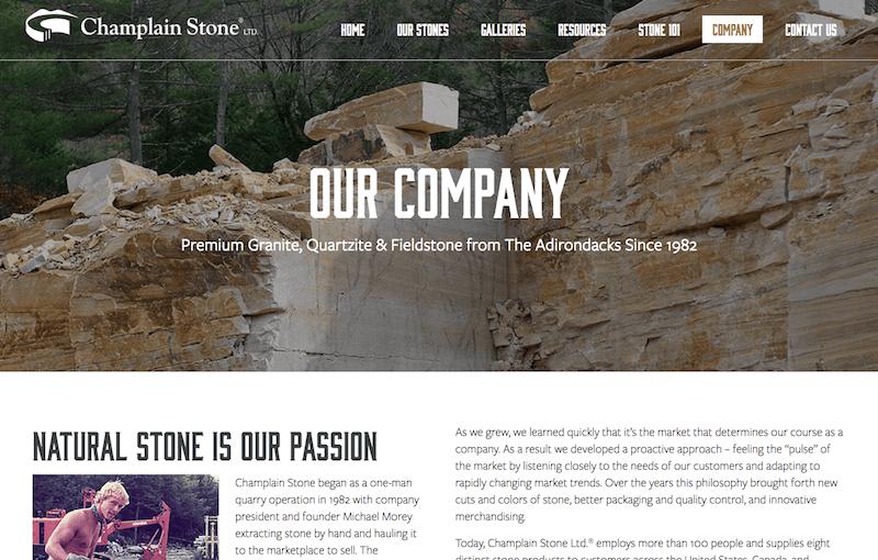 Screenshot of Champlain Stone website company page