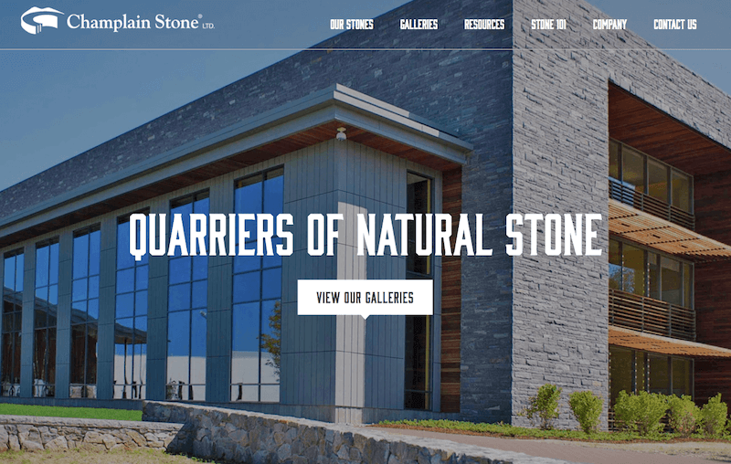 Screenshot of Champlain Stone website homepage