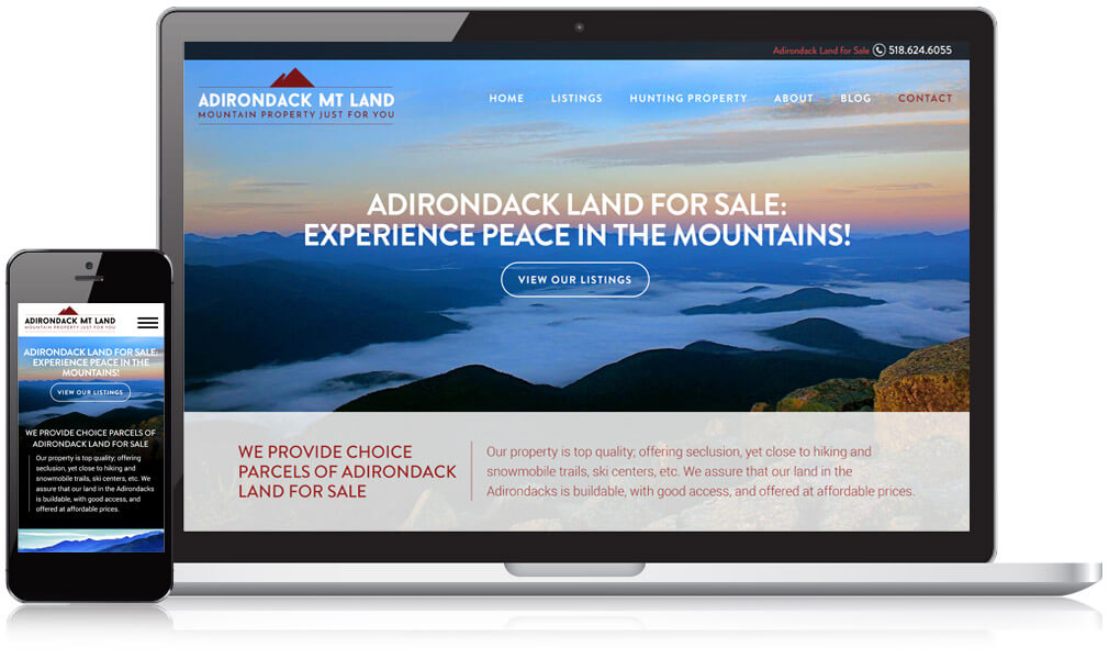 Screenshot of Adirondack Mt Land's website on a laptop and mobile device