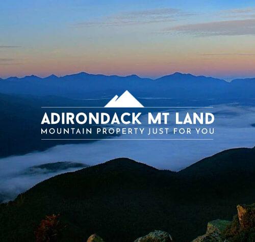 Adirondack Mt Land logo with background of the Adirondacks