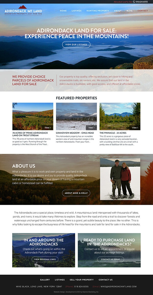 Full screenshot of Adirondack Mt Lands entire website