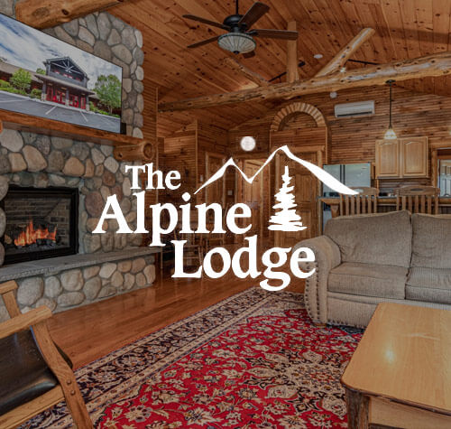 Alpine Lodge logo with a picture of a room at the lodge