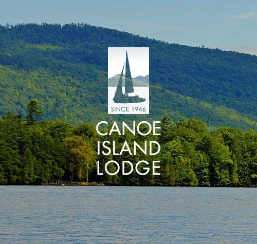 Canoe Island Lodge logo with Lake George in the background