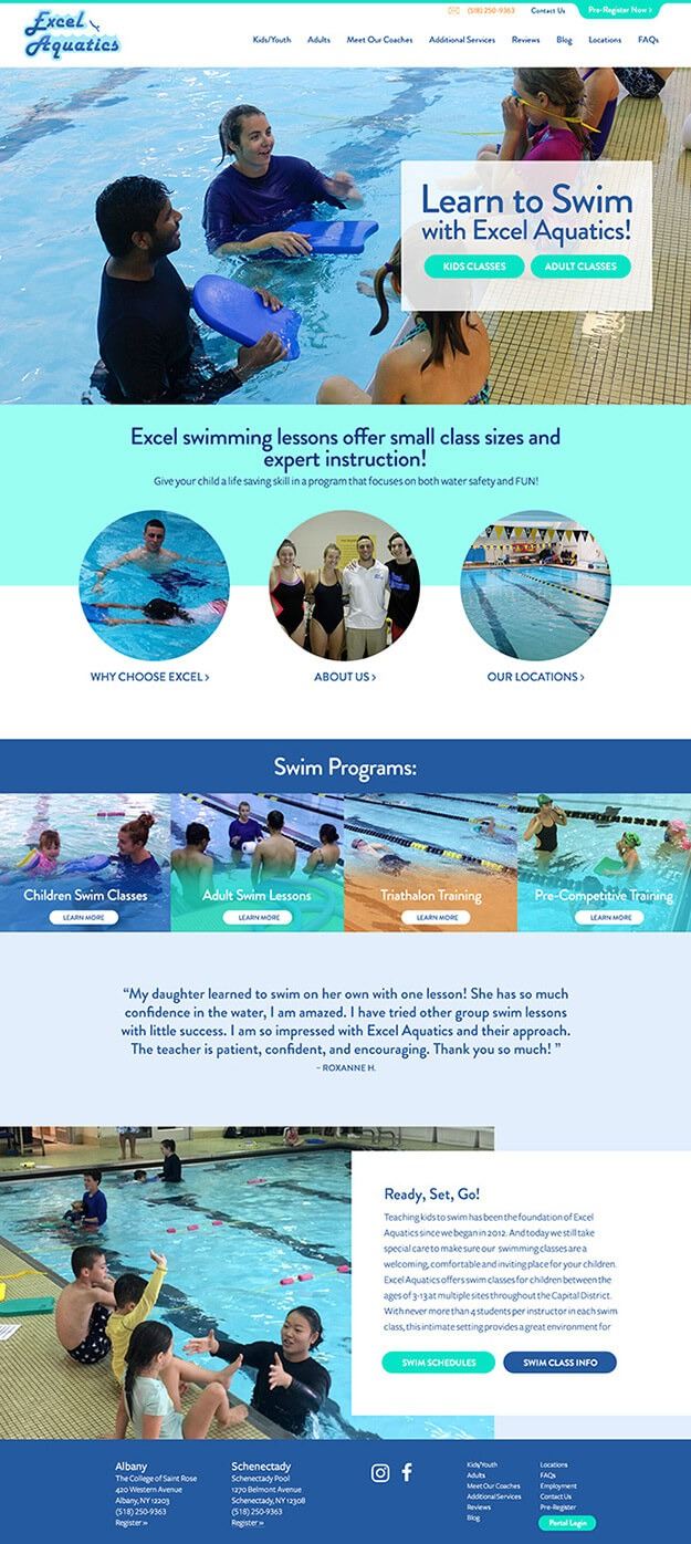 Screenshot of the entire length of Excel Aquatics website homepage