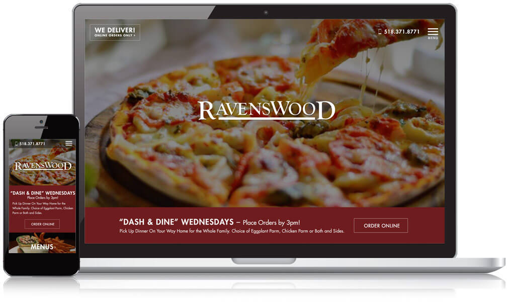 Ravenswood Pub on mobile and laptop