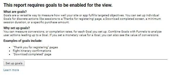 Google Analytics account without goals set up