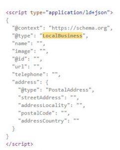 local business schema screenshot