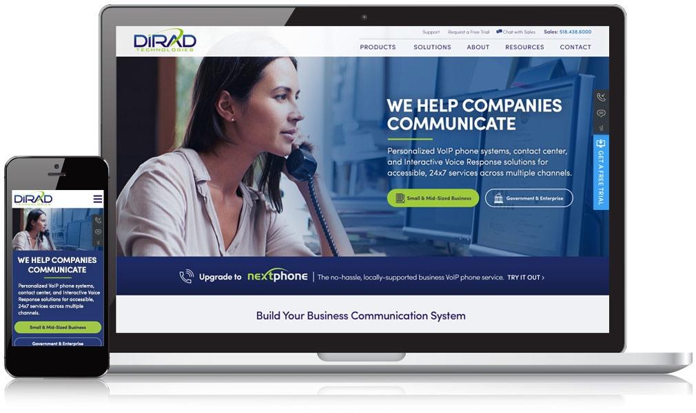 Website for Dirad on mobile and desktop