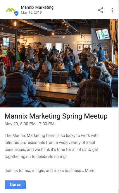 Event Type Google My Business Post