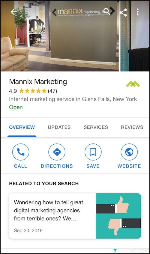 Mannix Marketing's Google My Business profile on mobile screen