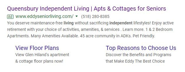 independent living PPC ad