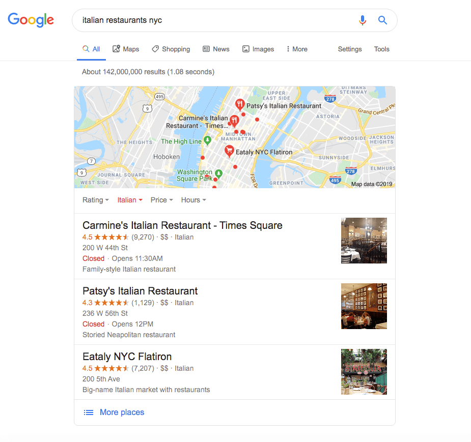 "The Local Pack for a Google Search of ""Italian Restaurants NYC"""