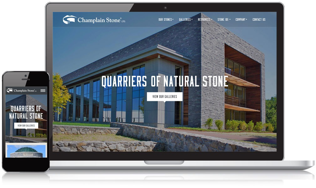 Champlain Stone website on mobile and laptop
