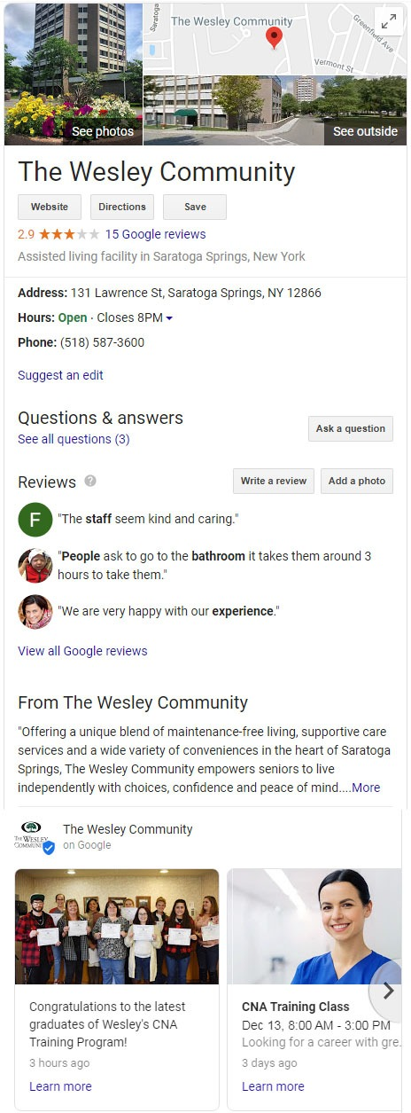 The Wesley Community Google My Business Page