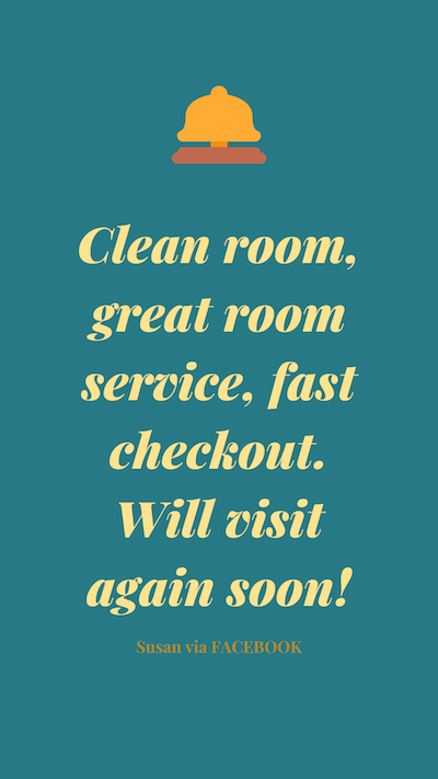 Clean room, great room service, fast checkout. Will visit again soon!