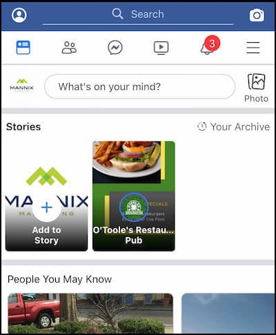 Facebook Stories position on app