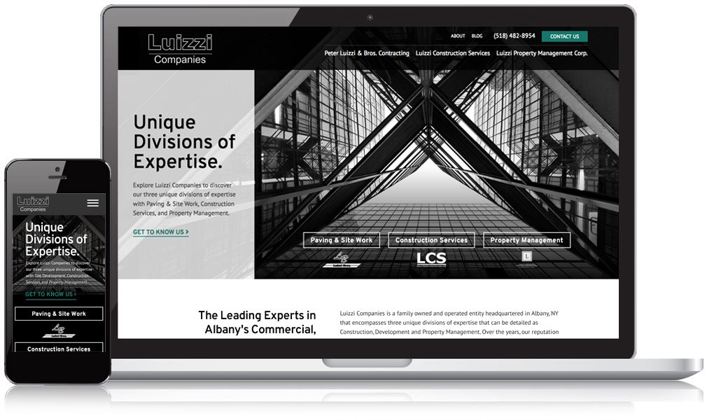 Image of Luizzi Companies website on a mobile device and desktop screen