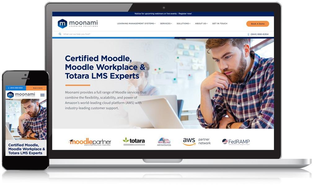 Moonami's website on a desktop and mobile screen