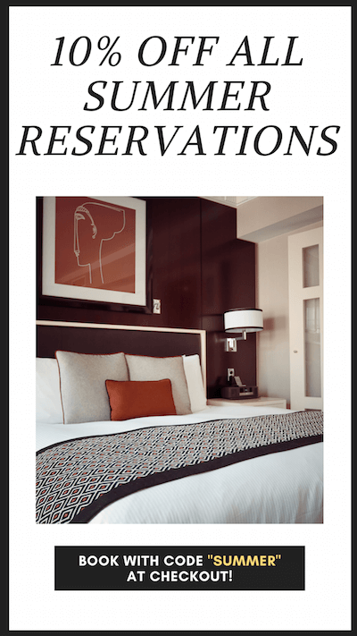 "10% Off All Summer Reservations. Book with Code ""Summer"" at Checkout"