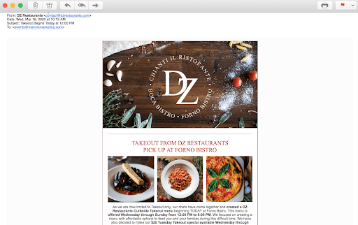 DZ Restaurants Email Newsletter