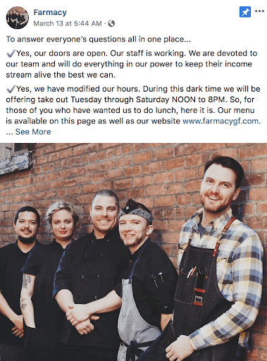 Screenshot of Farmacy Restaurant posting a picture of their staff