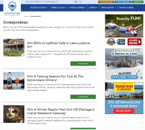 Screenshot of giveaways on LakeGeorge.com