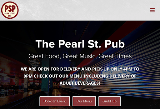 Pearl St Pub website homepage
