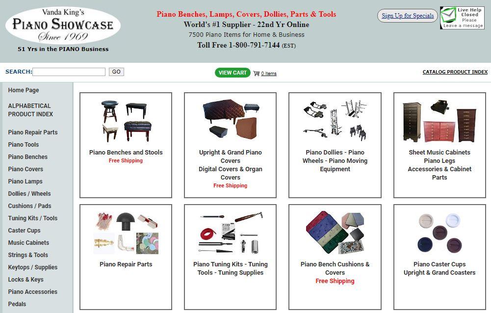 Vanda King's Piano Showcase E-Commerce Website