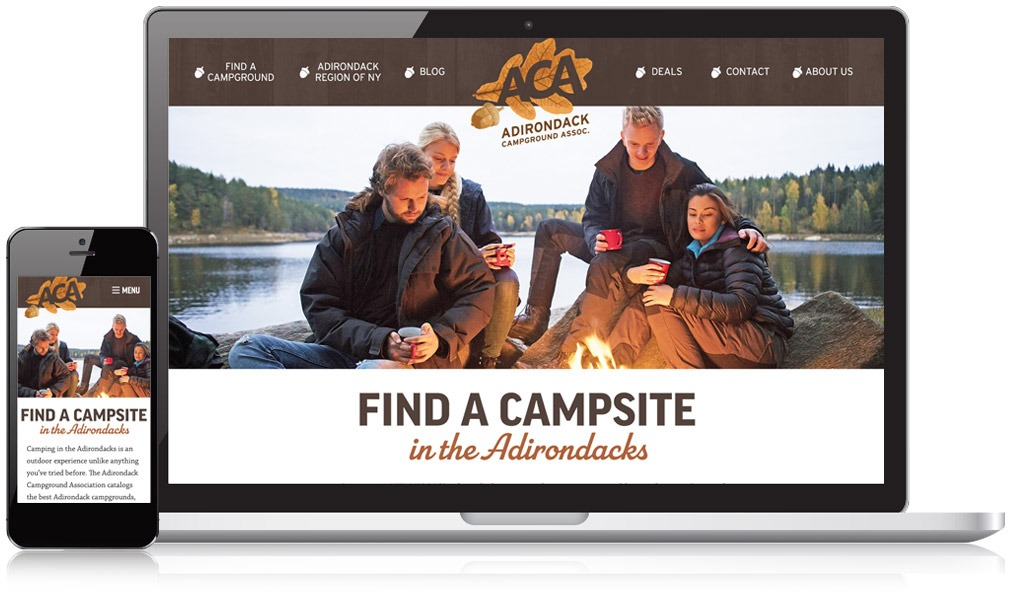 Screen shot of landing page for website, people around campfire and mobile phone with same image