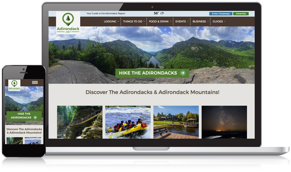 Laptop and mobile image of Adirondack.net
