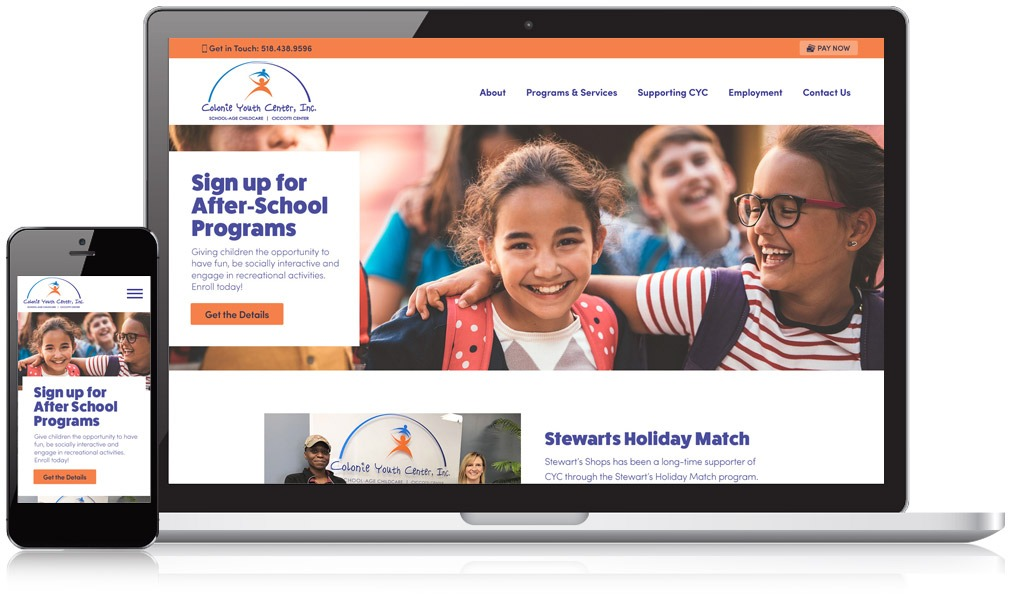 Laptop & Mobile view of Colonie Youth Center's website