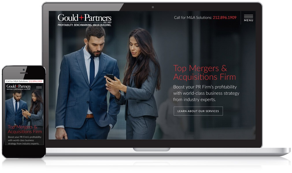 Gould + Partners Website on a Laptop and Mobile Device