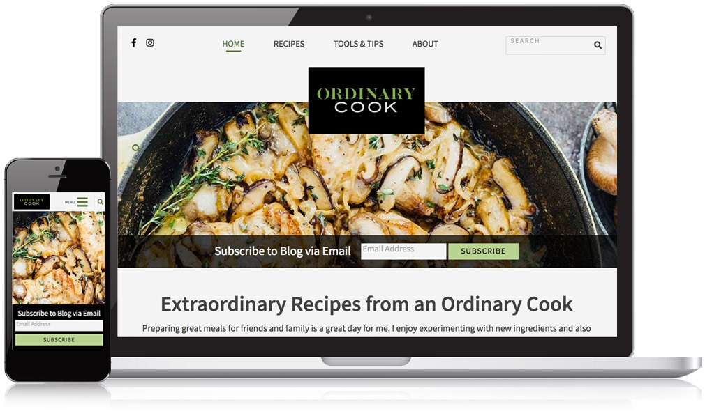 Laptop & Mobile Image for Ordinary Cook Website