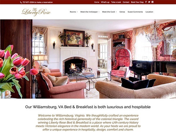 brand new Liberty Rose B&B website design