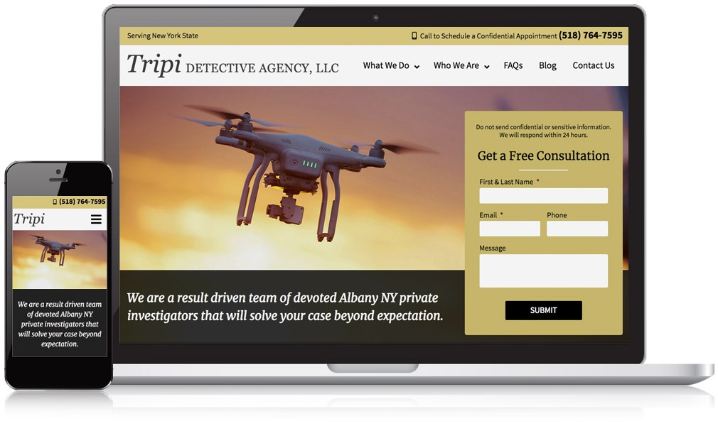Tripi Detective Agency website on laptop and mobile phone