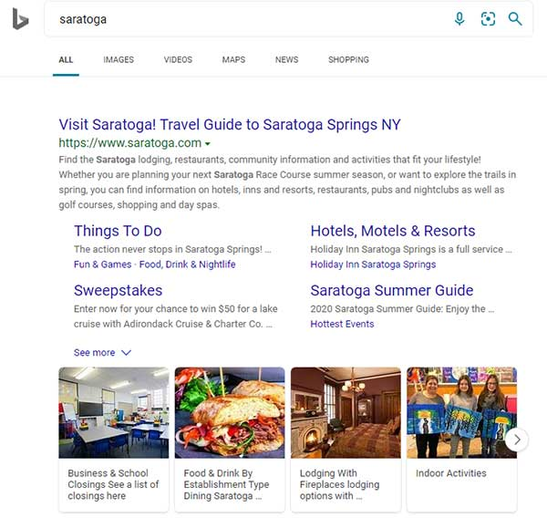 Bing results for Saratoga with sitelinks
