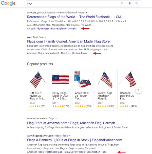 Google results for flags with sitelinks