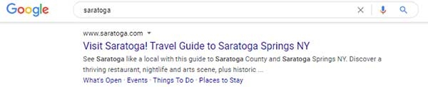 Google results for Saratoga with sitelinks