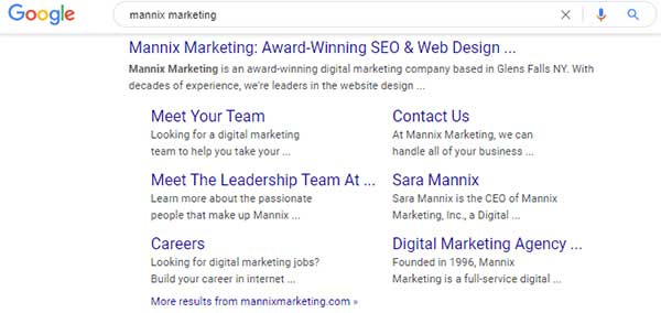 Google results for Mannix Marketing with sitelinks