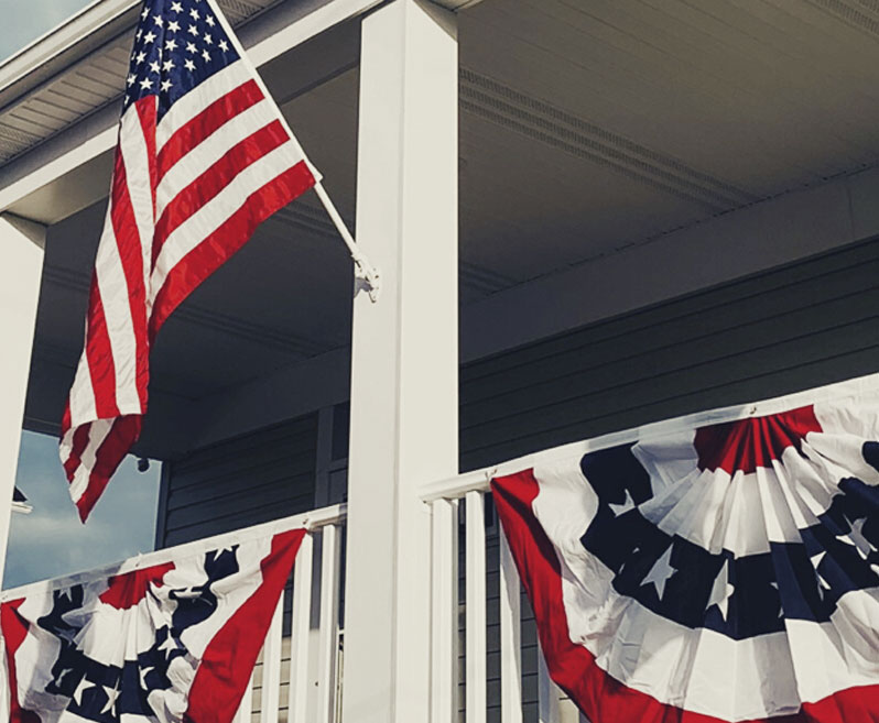 Flags on Porch