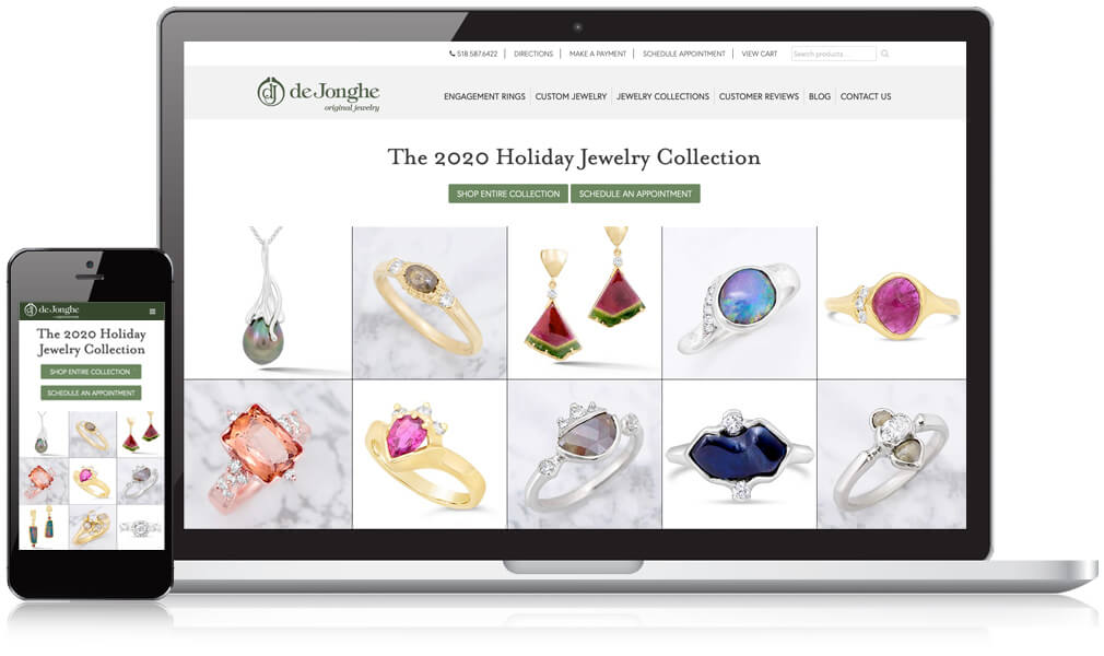 DeJonghe Jewelry Website on a mobile and laptop device