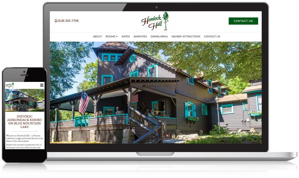 Hemlock Hall Lodging Website shown on a desktop and laptop screen