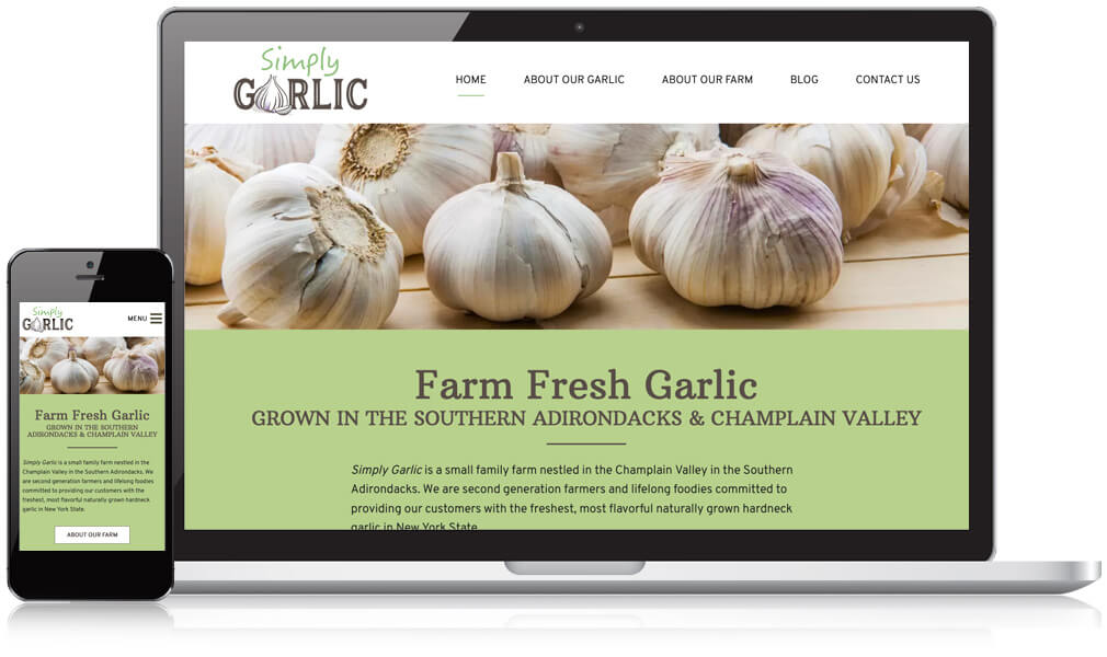 Image of Simply Garlic's website on mobile and laptop