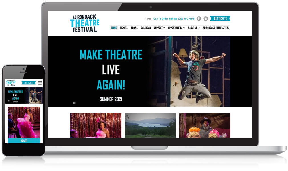 Homepage design of Adirondack Theatre Festival on a mobile and laptop screen