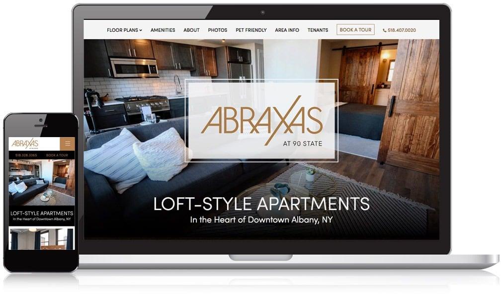 Abraxas website on mobile and desktop