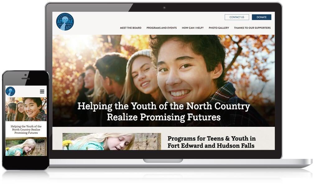 Amorak Youth Website Design on desktop and mobile screen