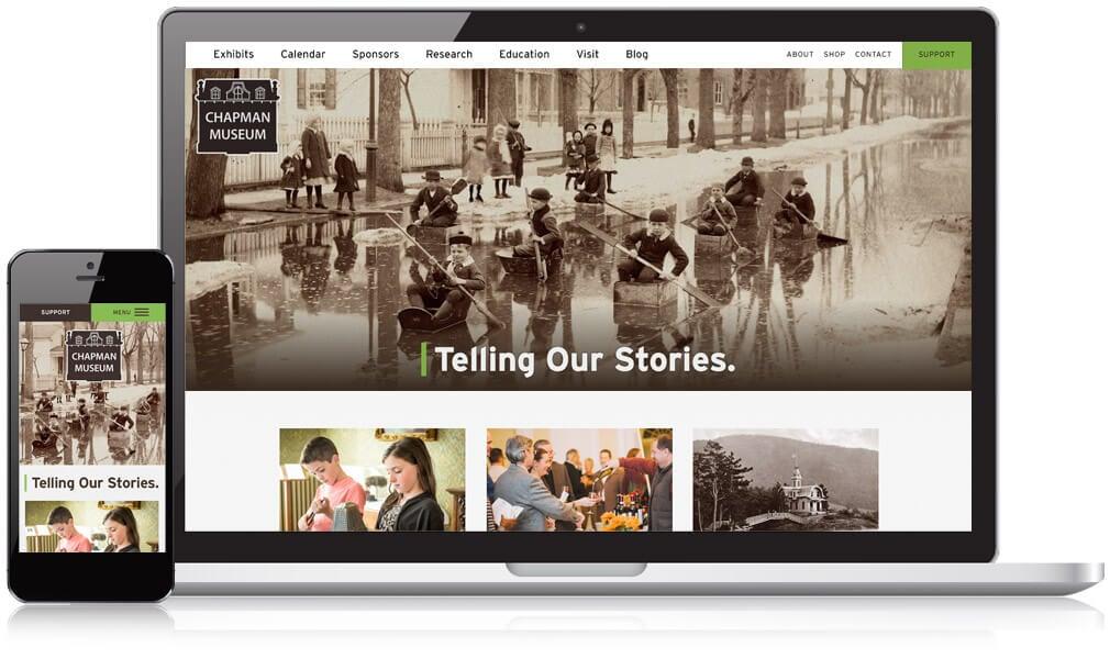 Chapman Museum website on mobile and desktop