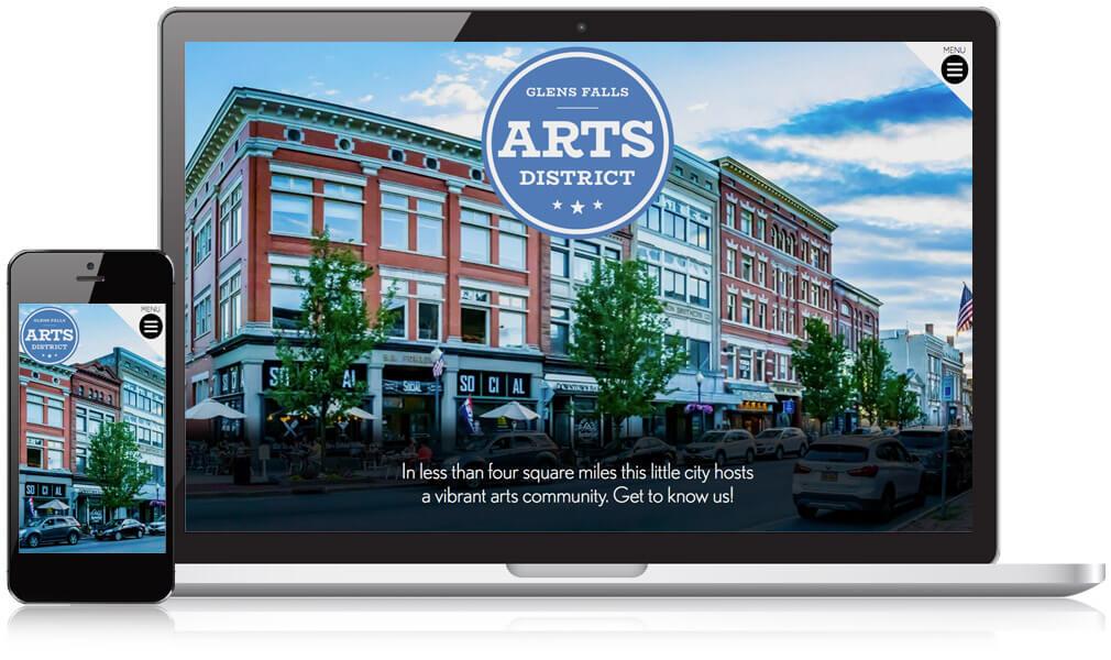 Laptop and mobile version of Glens Falls Arts District website