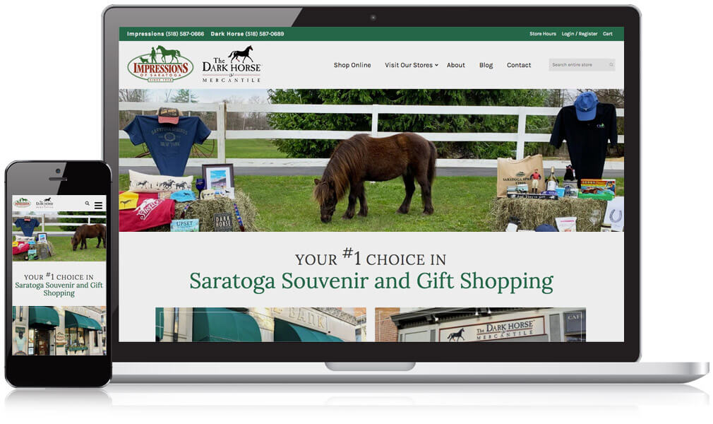 Impressions of Saratoga homepage on a desktop and mobile device